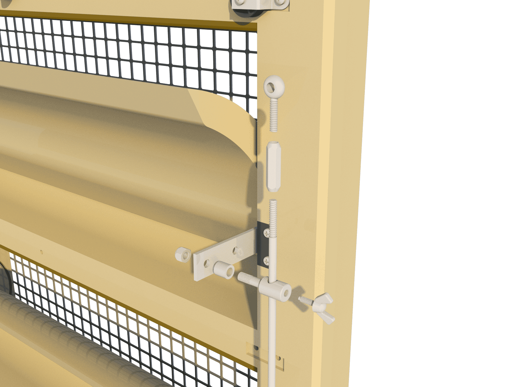 Ventilation pig and poultry house side wall inlet 145-VFGD assembly